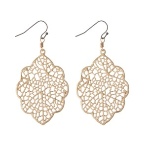 "Gold tone filigree earrings with a two tone fishhook. Approximately 1.25"" in length."