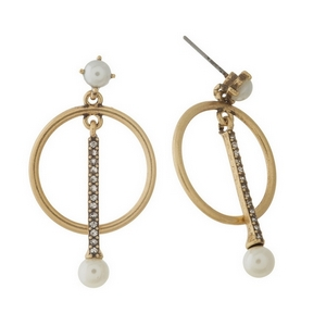 "Burnished gold tone post style earrings with clear rhinestone accents and 10mm pearl beads. Approximately 1.5"" in length."