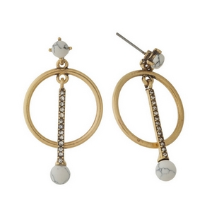 "Burnished gold tone post style earrings with clear rhinestone accents and 10mm howlite beads. Approximately 1.5"" in length."