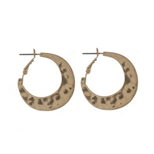 "Hammered gold tone hoop earrings. Approximately 1"" in length."