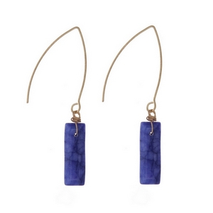 "Gold tone, long hook earrings with a blue stone. Approximately 1.5"" in length."