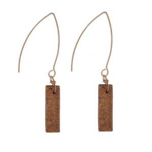 "Gold tone, long hook earrings with a picture jasper stone. Approximately 1.5"" in length."