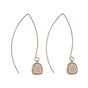 "Gold tone long hook earrings with a blush pink stone. Approximately 2"" in length."