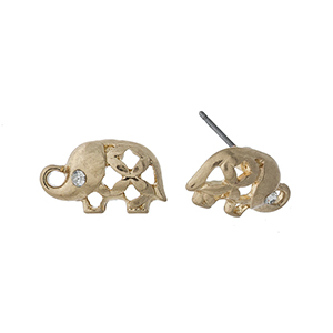 "Dainty gold tone elephant studs. Approximately 1/2"" in length."