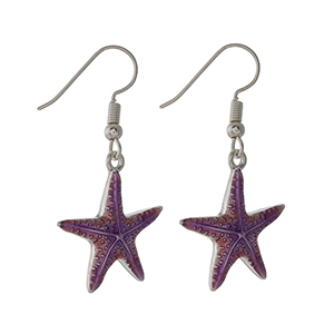 "Silver tone fishhook earrings with a pink and purple ombre starfish. Approximately 1"" in length."