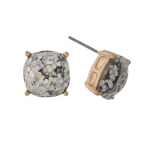 """Gold tone stud earrings with iridescent glitter. Approximately 1/2"""" in diameter."""