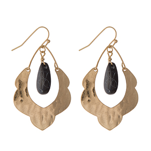"Hammered gold tone scalloped earrings with a black stone. Approximately 1.5"" in length."