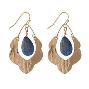 "Hammered gold tone scalloped earrings with a lapis stone. Approximately 1.5"" in length."