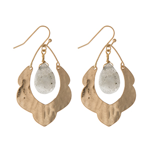 "Hammered gold tone scalloped earrings with a labradorite stone. Approximately 1.5"" in length."
