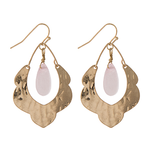 "Hammered gold tone scalloped earrings with a blush pink stone. Approximately 1.5"" in length."