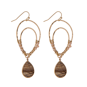 """Gold tone fishhook earrings with an upside down teardrop shape and picture jasper beads. Approximately 3"""" in length."""
