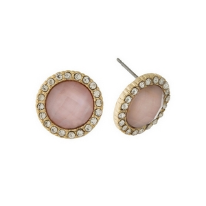 "Gold tone stud earrings with a shimmering pink stone, accented with clear rhinestones. Approximately 1/2"" in diameter."