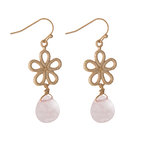 "Gold tone flower earrings with a pink stone. Approximately 1"" in length."