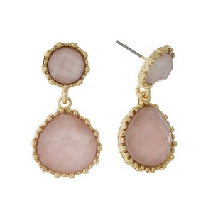"Gold tone, post style earrings with a shimmering, pink faceted and teardrop shape. Approximately 1.25"" in length."