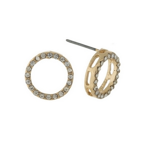 "Gold tone circle stud earrings with clear rhinestones. Approximately 1/2"" in width."