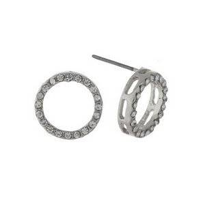 "Silver tone circle stud earrings with clear rhinestones. Approximately 1/2"" in width."