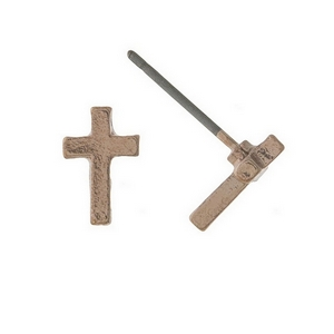 "Dainty rose gold tone cross stud earrings. Approximately 1/5"" in length."