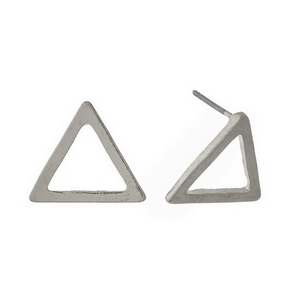 "Silver tone, triangle shaped, stud earrings. Approximately 1/2"" in length."
