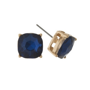 "Gold tone stud earrings with a navy blue rhinestone. Approximately 1/2"" in width."