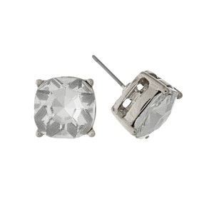 "Silver tone stud earrings with a clear rhinestone. Approximately 1/2"" in width."