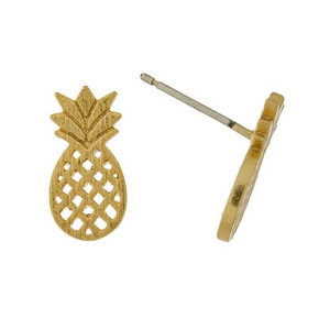 "Dainty gold tone stud earrings in the shape of a pineapple. Approximately 1/3"" in length."