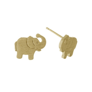 "Dainty gold tone stud earrings in the shape of an elephant. Approximately 1/3"" in length."