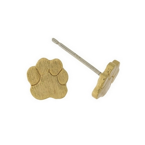 "Dainty brushed gold tone stud earrings with a paw print shape. Approximately 1/4"" in length."