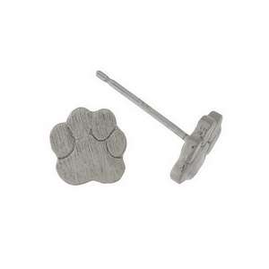 "Dainty brushed silver tone stud earrings with a paw print shape. Approximately 1/4"" in length."