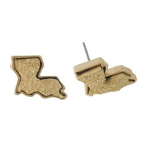 Gold tone stud earring with a faux druzy stone in the shape of Louisiana. Approximately 15mm in length.