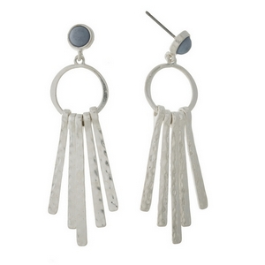 """Silver tone post style earrings displaying a light blue stone with hammered metal fringe. Approximately 2"""" in length."""