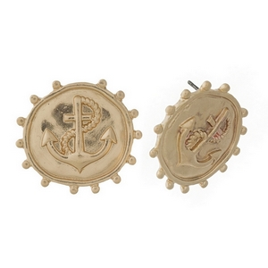 Round hammered gold tone stud earrings featuring an anchor. Approximately 22mm in diameter.