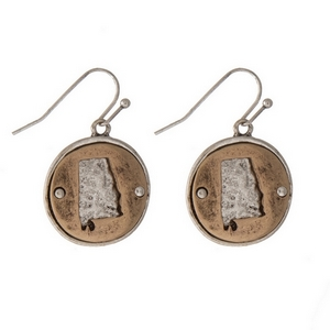 "1"" Two tone fishhook earrings featuring a round 20mm pendant with a cutout of the state of Alabama."