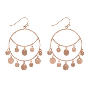 """Rose gold tone fishhook earrings with hammered circle charms. Approximately 1.25"""" in diameter."""
