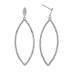 "Silver tone post style earrings with a hammered oval shape. Approximately 2.5"" in length."