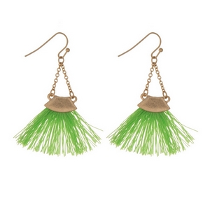 "Gold tone fishhook earrings with a lime green fan tassel. Approximately 2"" in length."