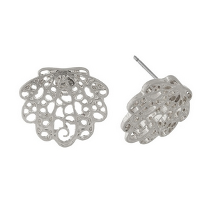 "Silver tone, filigree seashell studs. Approximately 3/4"" in size."