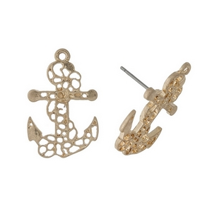 "Gold tone, filigree anchor studs. Approximately 1"" in size."