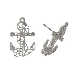 "Silver tone, filigree anchor studs. Approximately 1"" in size."