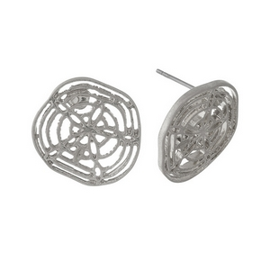 "Silver tone, filigree sand dollar studs. Approximately 1"" in diameter."