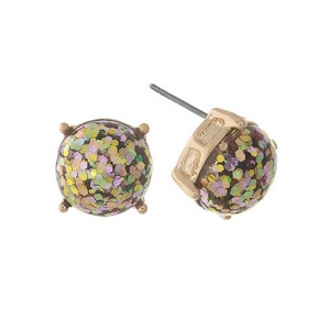 "Gold tone stud earrings with mauve and olive glitter. Approximately 1/3"" in diameter."