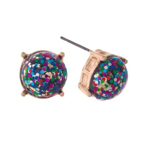 "Gold tone stud earrings with multi colored glitter. Approximately 1/3"" in diameter."
