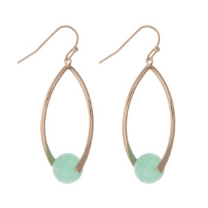 "Matte gold tone fishhook earrings with an amazonite natural stone bead. Approximately 1.5"" in length."