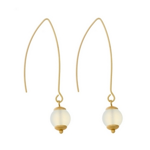 """Matte gold tone long hook earrings with an opal natural stone bead. Approximately 2"""" in length."""