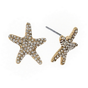 "Gold tone starfish stud earrings with clear rhinestones. Approximately 3/4"" in size."