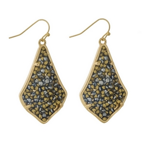 "Gold tone fishhook earrings featuring hematite and gold stones. Approximately 2"" in length."