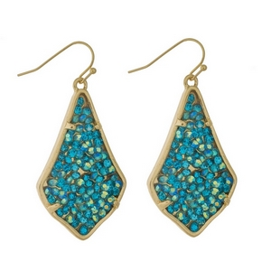 "Gold tone fishhook earrings featuring turquoise and mint stones. Approximately 2"" in length."