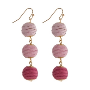 "Gold tone fishhook earrings featuring pink ombre, thread wrapped balls. Approximately 2"" in length."