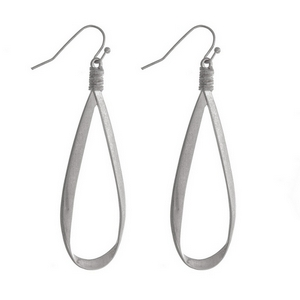 "Matte silver tone fishhook earrings with an open teardrop shape. Approximately 2.5"" in length."