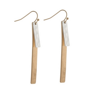 """Gold tone fishhook earrings with two tone bars. Approximately 2.5"""" in length."""