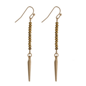 """Dainty gold tone fishhook earrings with gold faceted beads and a spike pendant. Approximately 2"""" in length."""